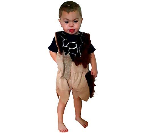 Zubehör Kostüm Flintstones - Kinderkostüm Steinzeit Junge Gr. 104 Kleid braun Neandertaler Urmensch Karneval