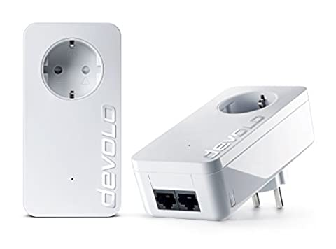 devolo dLAN 550 duo+ Starter Kit Powerline (500 Mbit/s Internet über die Steckdose, 2x LAN Ports, 2x Powerlan Adapter, integrierte Steckdose, PLC Netzwerkadapter)