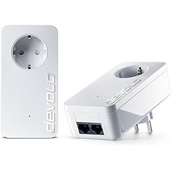 devolo dLAN 550 duo+ Starter Kit Powerline (500 Mbit/s Internet aus der Steckdose, 2x LAN Ports, 2x Powerlan Adapter, integrierte Steckdose, PLC Netzwerkadapter) weiß