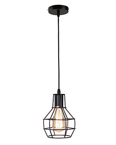 Lámpara colgante,KOONTING retro hierro lámpara Vintage lámpara de estilo industrial minimalista Lámpara de Techo, Negro.(Shape:A)