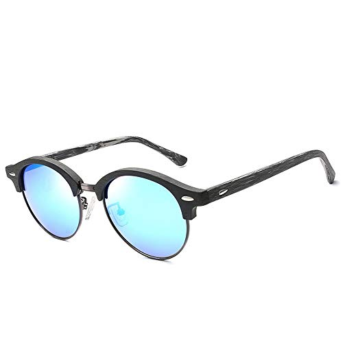 Frauen Männer Mode Vintage Holzmaserung Cat Eye Sonnenbrille Runde Rahmen Platte Polarisierte Sonnenbrille Für Brille (Color : 01Blue)