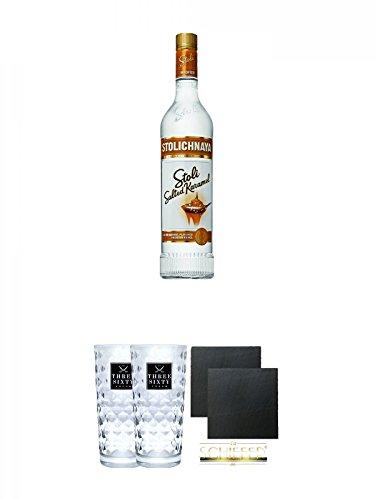 Stolichnaya-Salted-Karamel-375-07-Liter-Three-Sixty-Vodka-Glser-2-Stck-Schiefer-Glasuntersetzer-eckig-ca-95-cm–2-Stck