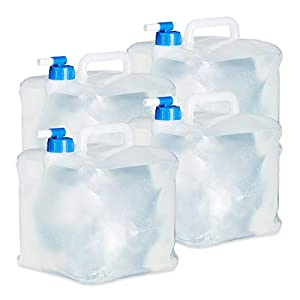 Relaxdays Wasserkanister faltbar 4er Set, Quadratisch mit Hahn, Haltegriff, Camping Faltkanister BPA frei, lebensmittelecht
