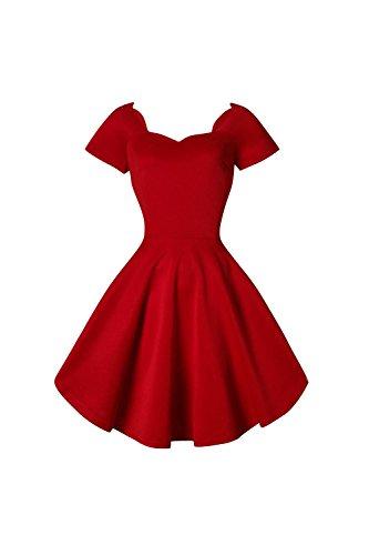 Frauen 1950er Jahre Vintage Kurzarm Schatz Swing Kleid Red