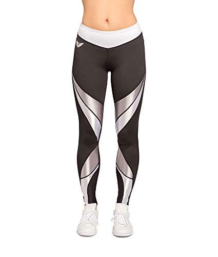 Aero wear Damen Luna - 1 inch Slimmer Waist Leggings, Schwarz/Grau, M
