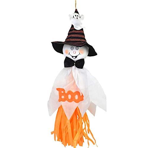 (EXQUILEG Hängend Halloween Geist Kürbis Hut Hexe Vogelscheuche Puppe Halloween Party Supplies zubehör schmuck Wand tür Dekoration (Weiß))
