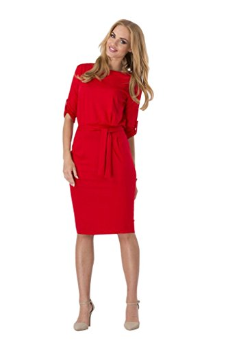 BOMOVO Damen Sommerkleid Elegant Celebrity Etuikleid Business Party Cocktail Kleid Bleistiftkleid Rot