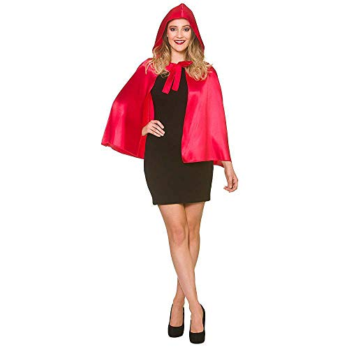 Adult Ladies Halloween Red Short Satin Hooded Cape Fancy Dress Accessory 23� Red Hooded Capes