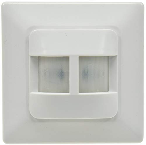 Bewegungsmelder Unterputz 180° Sensor I für LED geeignet I 9m Reichweite 2-Draht Ersatz für einen Schalter I 2X 45° Sensoren I Weiß