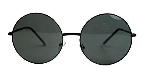 Oversized Lennon Style Damen Sonnenbrille im 60er 70er Jahre Hippie Style FARBWAHL LXL (Schwarz/Smoke)