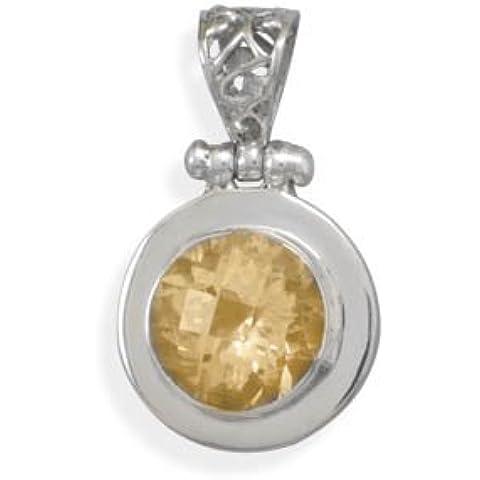 Ciondolo in argento Sterling con ciondolo con citrino sfaccettato con cornice Bale - Sfaccettato Citrino Bracciale