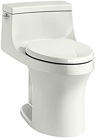 KOHLER K-5172-NY San Souci Comfort Height Compact Elongated 1.28 GPF Toilet with AquaPiston Flushing Technology and Left-Hand Trip Lever, Dune, 1-Piece