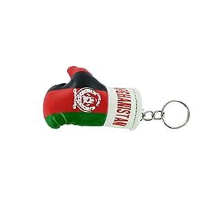Akacha Schlüsselanhänger, Boxhandschuh, Motiv: afghanische Flagge