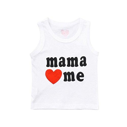 Hirolan Kinder Babykleidung Sommerkleidung Ärmellos Sweatshirts Weste Mama Liebe Mich Gedruckt Weste Neugeborene Kleider (Für Mama Und Mich Kostüm)