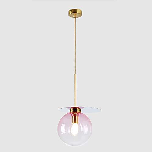 ETH LED Schrittweise Bunte Glaskugel Deckenleuchte Gelb Warmes Licht Hardware Kronleuchter Esszimmer Wohnzimmer Studie Schlafzimmer Einfache Moderne Transparente Minimalismus Bunt (Farbe : Pink) - Licht Hardware