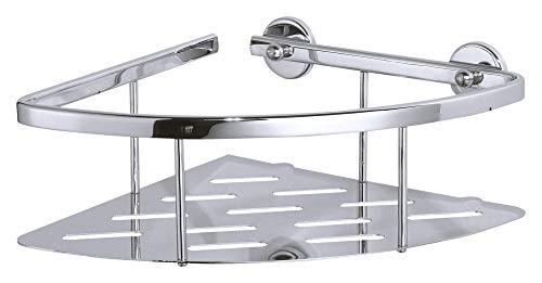 Tesa Aluxx Eckablage (für die Dusche, Aluminium, verchromt, rostfrei, inkl. Klebelösung, tiefer Boden, 92mm x 250mm x 125mm)