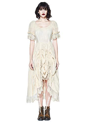 Prairie Kostüm - Devil Fashion Gothic Frauen Prairie Chic Lange Kleider Kurze Hauchhülse Romatic Kleid cremefarbener Spitze Baumwollkleid