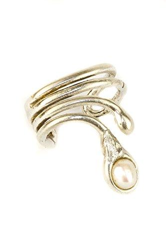 Ohrring Ohrklemme große Vierdrahtcreole Silber mit kleiner, weißer Süßwasserperle 408S-L für das linke Ohr
