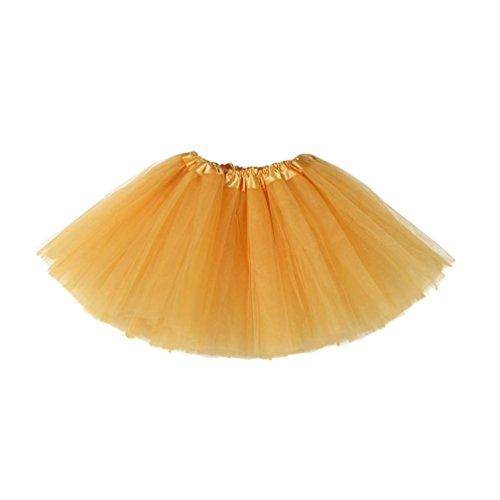 Tüllrock Mädchen, FNKDOR Tütü Unterrock Tüll Rock Petticoat Kurze Tutu Rock (Gold)