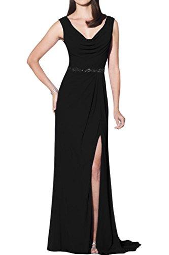 Gorgeous Bride Modisch Traeger Etui Lang Chiffon Schlitze Abendkleider Festkleid Ballkleid Schwarz