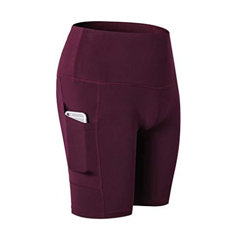 WOZOW Short Damen Yoga Kurze Hosen Solid Basic Seitentasche Fahrradhosen Stretch Skinny Sporthosen High Waist Laufhose Fitness Leggings ()