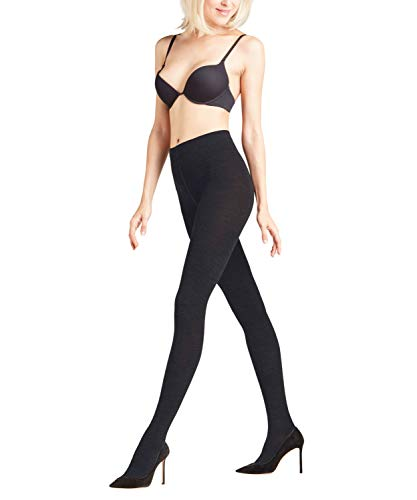 FALKE Damen W TI Woll-/ Baumwoll Strumpfhose Softmerino warme Damenstrumpfhose 1 Paar, Blickdicht, Schwarz (Black 3009), 44-46 -