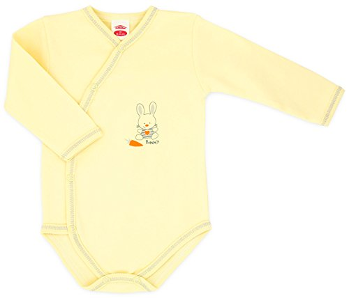 MAKOMA Baby Unisex Jungen und Mädchen Wickelbody Langarm -03145 Happy Bunny- (62)