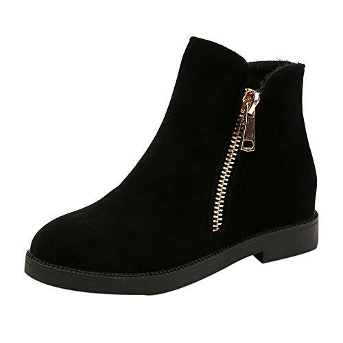 MYMYG Stiefel Damen Boots Wildleder Stiefeletten Feste Winter warm Flock reißverschluss Stiefel Runde Spitze Schuhe Flache Schuhe Runde Kappe Reißverschluss Schuhe Freizeitschuhe