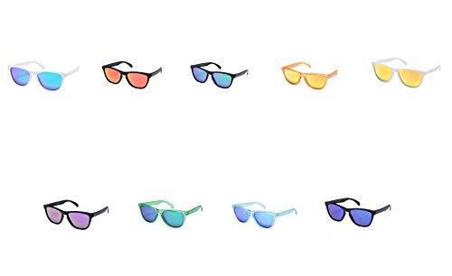 9 er Set Sonnenbrille EL-Sunprotect® Polarisierte Linsen Retro Vintage Style Nerd Look Stil Unisex Brille - Weiß Türkis - Weiß Orange Transparent Schwarz Grün Lila Blau
