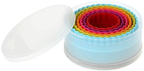Dexam Ausstechform doppelseitig, Kunststoff, glatt/gezackt, rund, 6 Stück