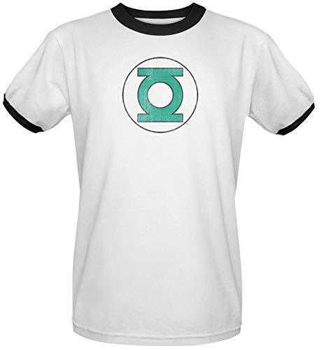 Wicked Tees Herren T-Shirt DC Short Sleeve Green Lantern Distressed Large Ringer Tee -