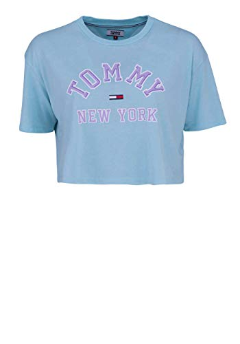 TOMMY JEANS Kurzarm T-Shirt Rundhals Cropped Oversize aqua