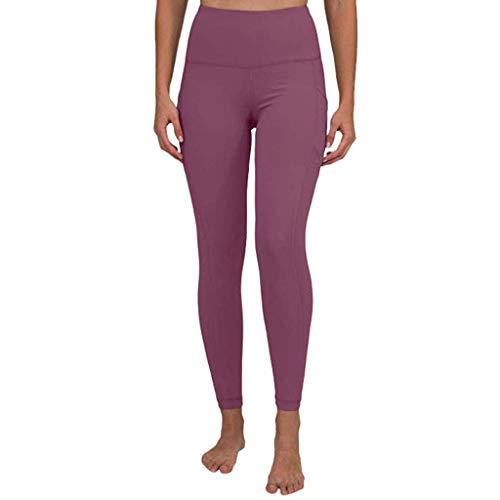 KIMODO® Damen Workout Out Leggings mit Tasche, Einfarbig Fitness Sport Jogging Yoga Sporthose Hose Freizeithose Pants