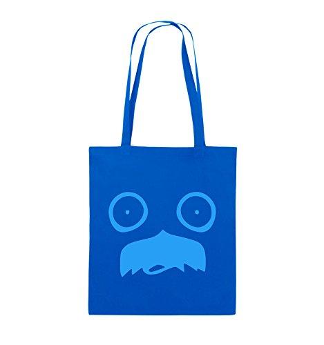 Comedy Bags - GESICHT SCHNURRBART - COMIC - Jutebeutel - lange Henkel - 38x42cm - Farbe: Schwarz / Silber Royalblau / Blau