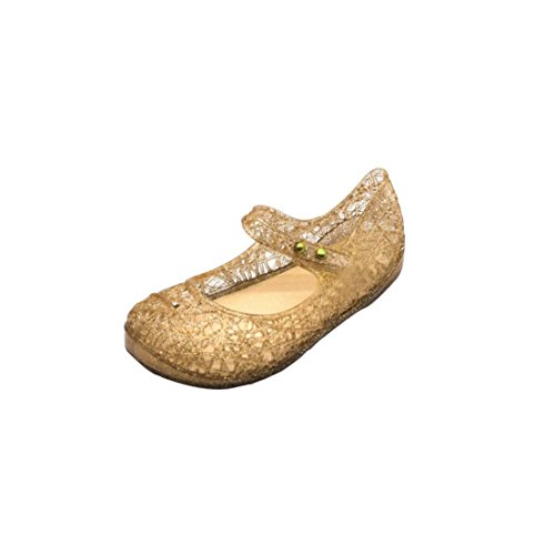 FNKDOR Mary Jane Ballerinas Gelee Hohle Sandalen Prinzessin Schuhe, 1-6 Jahre (25 Fußlänge:15.6CM, Gold)