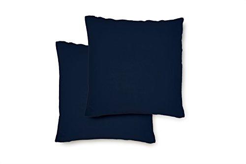 Lumaland Comfort Jersey Kissenbezug 2er Set aus 100 % Baumwolle mit Reißverschluss 80 x 80 cm Marine Blau