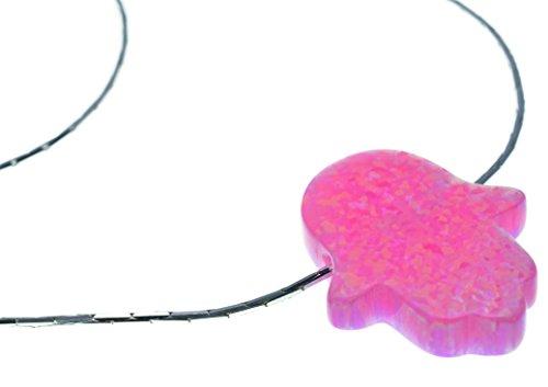 Collier Main de Fatma pierre Opale Rose de synthèse, chaine maille serpent en Argent 925 de 48cm par Nanostyle