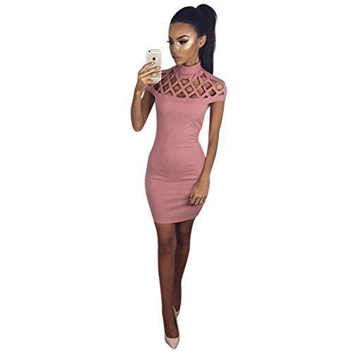 Live It Style It - Vestido - ajustado - Sin mangas - para mujer rosa rosa Large