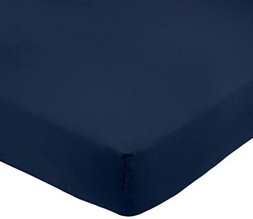 AmazonBasics Drap-housse en microfibre Bleu marine 140x200x30cm