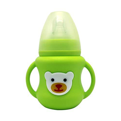Bright love Naturel Large Bouche de sécurité Alimentation en Silicone boîte de bébé biberon bébé, Pas de BPA,Green