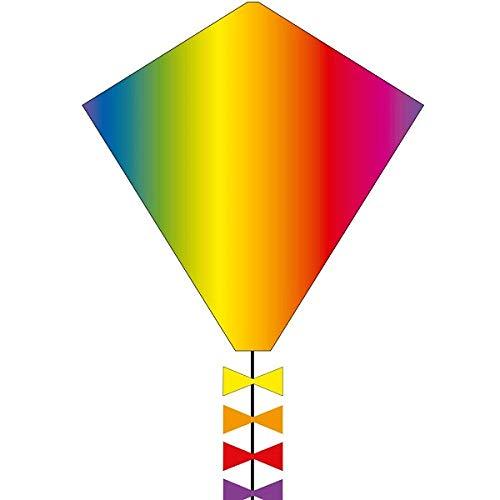 Ecoline 102102 - Eddy Rainbow 50cm Kinderdrachen Einleiner, ab 5 Jahren, 50x45cm und 2.5m Drachenschwanz, inkl. 10kp Polyesterschnur 25m auf Griff, 2-5 Beaufort