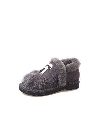 Chaussures Femme Shangyi - Mocassins - Décontracté - Bout Rond / Fermé - Plat - Daim - Noir / Gris Noir