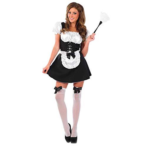 Sexy Dienstmädchen Kostüm (Strümpfe, kurzer Rock, Staubwedel) Größe 8-10 (Rocky Horror Kostüme Magenta)
