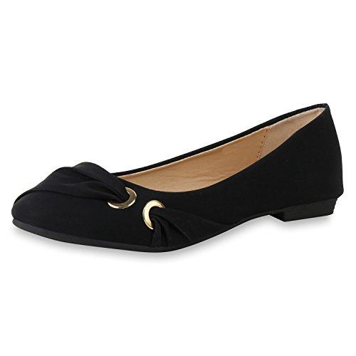 SCARPE VITA Klassische Damen Ballerinas Leder-Optik Flats Freizeit Schuhe 160366 Schwarz 37 (Ballerina Schuhe Hübsche)