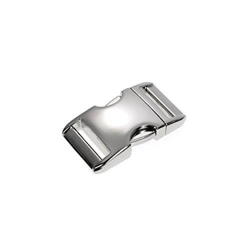 "Metall-Klickverschluss Alumaxx, Set aus 4 Stück, 5/8\"" / Klippverschluss/Steckschließer / Steckverschluss für Paracord-Armbänder, Hunde-Halsbänder, Rucksack, Oberfläche Glanz verchromt, Marke Ganzoo"