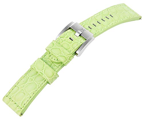 TW Steel Echt Leder Armband, 22 mm, grün, Silber, Schließe