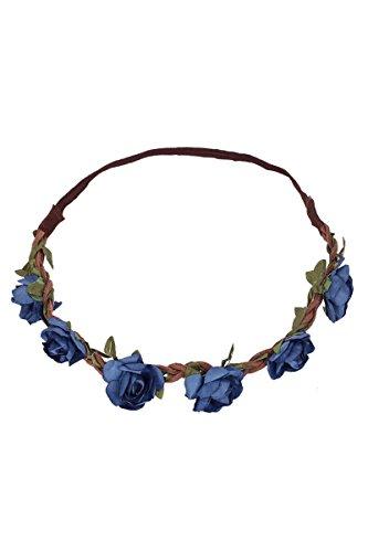 P.S. Schuhmacher Damen Trachten Blumenhaarband mit Gummizug blau, blau, unisize