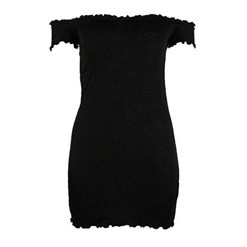 Manadlian Femmes Épaules Nues Robe Manches Courtes Bodycon Cocktail Robe de Soirée Noir