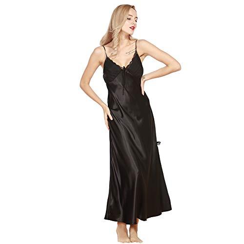 Damen Satin Nachthemd Negliee Spitze Sleepshirt Schlafanzug Luxus und Charmant Ladies Lang Nachtwäsche Nachtkleid Lingerie Pyjamas Plus Größe Schwarz M - Plus Satin-nachthemd