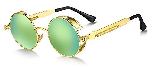 WHCREAT Retro Rund Polarisierte Sonnenbrille UV400 Schutz Steampunk Stil Brillen- Gold Rahmen Grüne Linse